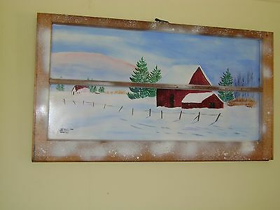 Original Acrylic Painting On Antique Window Frame Called White Christmas