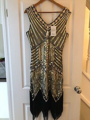 Vintage 1920's Style Gatsby Flapper Charleston Downton sequin bead dress UK 14