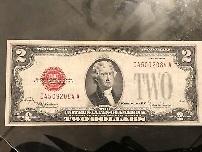1928-F Series $2 Dollar Bill Red Seal! Very Nice Condition! Please Ask Q