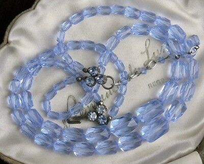 Vintage 2 Tier Light Cornflower Blue Austria Signed Crystal Glass Bead Necklace