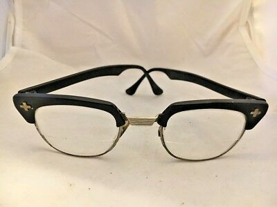 Vintage Bausch & Lomb Black Safety Glasses B&L 1950s Bifocal Rare Crosses RETRO!
