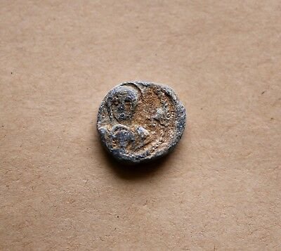 BYZANTINE LEAD SEAL/ BLEISIEGEL OF MAXIMUS  (7th cent.). Nice piece!