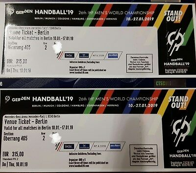 2 Venue Tickets Ihf Handball Wm 2019 Berlin Deutschland Mercedes Benz Arena