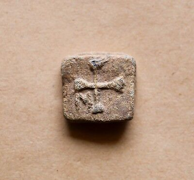 BYZANTINE LEAD WEIGHT WITH CROSS AND M LETTER (5th/6th cent.). VERY NICE PIECE!