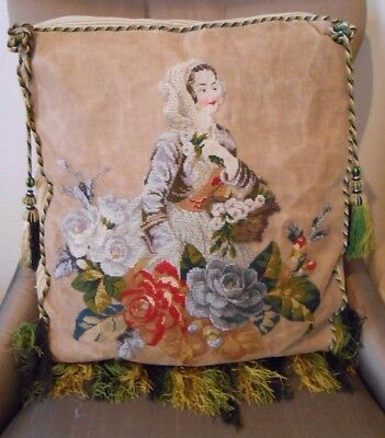 """21"""" Antique Needlepoint Tapestry & Beaded Victorian Accent Pillow Lady Flowers"""