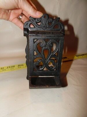 VTG cast iron black match holder, wall mounted, made in Taiwan