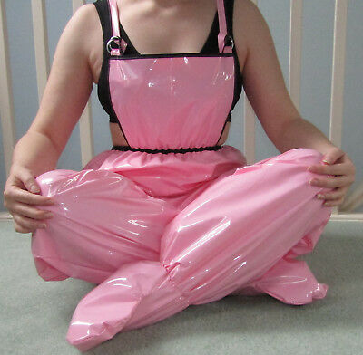 New Pvc Pink Unisex Adult Baby Dungarees, Enclosed Feet, Elasticated, Adjustable