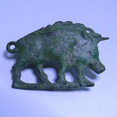 Roman German Ancient Artifact Bronze Zoomorphic Hunting Fibula Boar