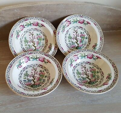 Set Of 4X Vintage J&g Meakin Sol Indian Tree Design Small Bowls / Dishes, Retro