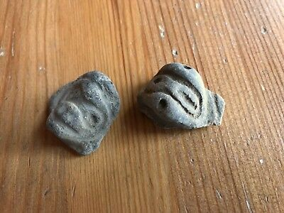 2 Taino Arawak pre Columbian native Indian effigy pottery heads, Dominican Rep.