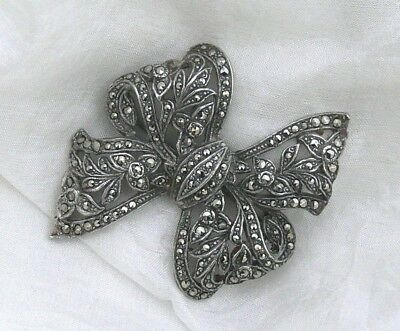 Lovely Detailed Vintage Art Deco Openwork/Pierced Marcasite Bow Brooch Pin