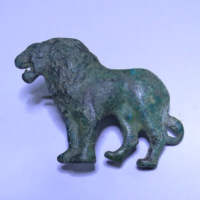 Roman Ancient Artifact Bronze Zoomorphic Fibula Lion