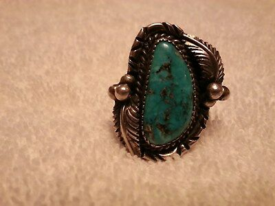 "Vintage Navajo Turquoise & Sterling Silver Ring By Julia Martinez ""Jjm"""