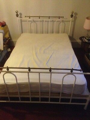 Antique Victorian Metal And Brass Unusual Bed Stead Double 4 Foot 6 Double St10