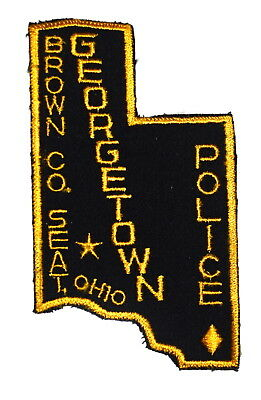 GEORGETOWN OHIO OH Sheriff Police Patch BROWN COUNTY SHAPE VINTAGE OLD MESH ~