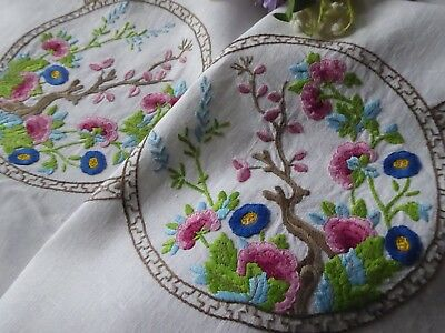 Vintage Hand Embroidered Tablecloth= Stunning Floral Raised Embroidery& Roses