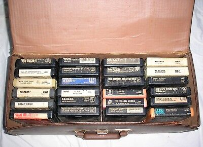 Vintage Collection of 8 Track Tapes (24 ea) and Case