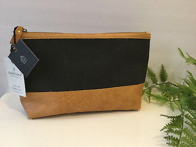 Hearth & Hand with Magnolia COSMETIC BAG CASE Canvas Leather BLACK/TAN New w/Tag