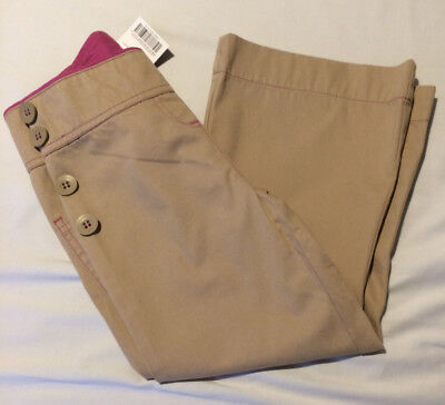 Next Girls Bootcut Trousers In Beige With Pink Trim And Side Buttons Age 4 Bnwt
