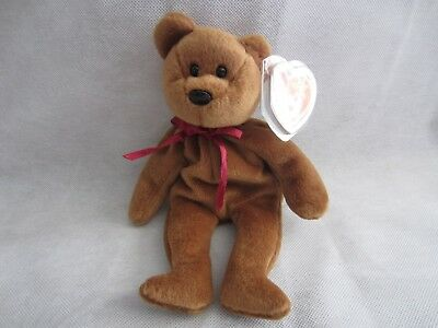 Ty Beanie Babies TEDDY the Brown Bear #4050 11-28-1995 w/Tag Errors 1993 PVC