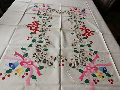 "Large hand embroidery lace vintage christmas tablecloth 84"" cotton rectangle"