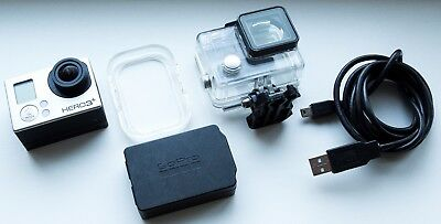 Working Silver Gopro Hero 3+ Action Camera & Alcdb-301 Lcd Touch Screen Back