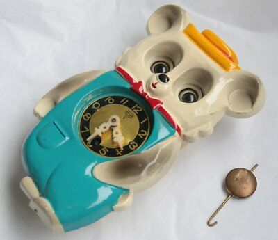 Vintage Mi-Ken Bear Pendulum Clock w/ Moving Eyes Japan + Key Kitsch