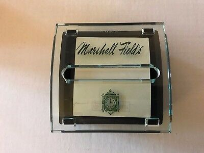Marshall Field Dept store acrylic  post it note dispenser with logo and clock