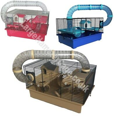 Hamster Cage Gerbil With Accessories 8 Tubes Exercise Wheel House Multi-storey