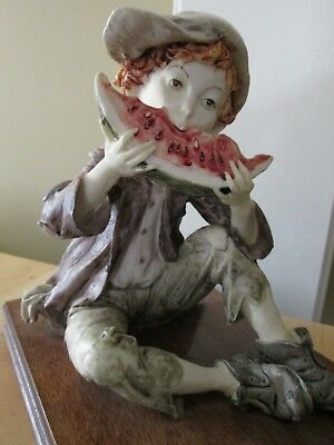 Vintage Statue of Boy Eating Watermelon--ESTATE FIND!