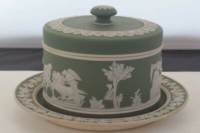 Rare Antique 19Th Cent. Sage Green Jasperware Wedgwood Cheese/ Butter Dome