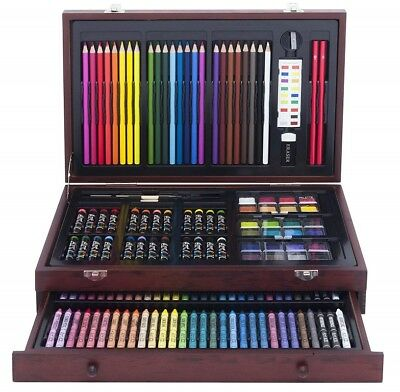 142-Piece Wood Art Set Kids Drawing Painting Craft Children Paint Draw Pencils