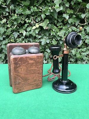 Stunning Antique Standing GPO Candle Stick Telephone Phone & Bell Box