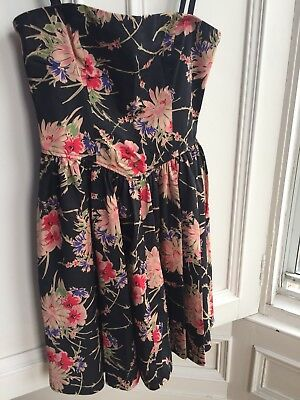 NEW LOOK Size 10 strapless party cocktail dress, black floral BRAND NEW w/o tags