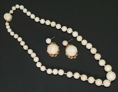 Vintage Graduated Angel Skin Coral & 14K Yellow Gold Necklace & Earrings