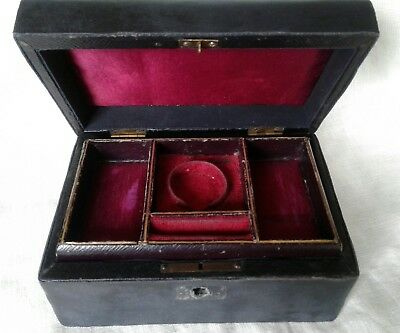 Antique Leather Jewellery Box
