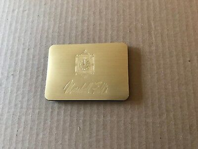 """Marshall Field""""s  Pocket Address case with clock and Logo  brushed metal"""