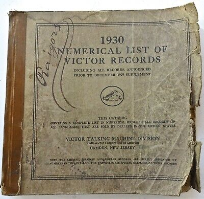 1930 Numerical List of Victor Records Store Catalog Manual Worn but Complete