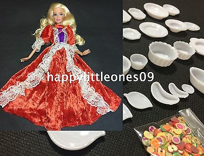 30pcs Doll House Kitchen Miniature Plate Set Toy and 1x Barbie Doll Dress New