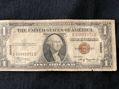 Series 1935 A One Dollar Silver Certificate HAWAII $1 Note-