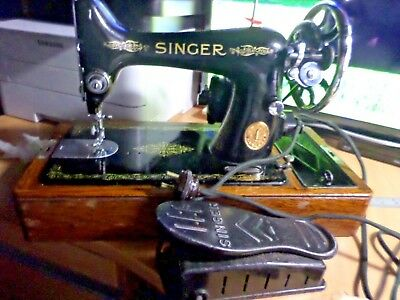 original condition VINTAGE 1933 SINGER SEWING MACHINE 99K WITH ELECTRIC MOTOR