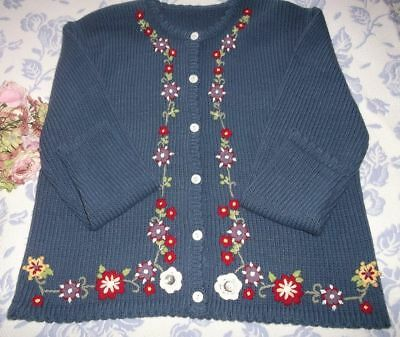 """Pretty Vintage Hand Knitted & Embroidered Wool Cardigan Sweater~40"""" Bust"""