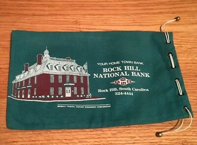 Vintage~Draw String Coin Money Bank Bag Pouch~ROCK HILL NATIONAL BANK~SC