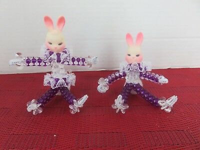 Vintage Purple and White Beads on Pipe Cleaner Easter Rabbit Bunnies Set of 2