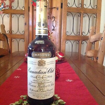 Glass Whiskey Decanter Canadian Club 1962