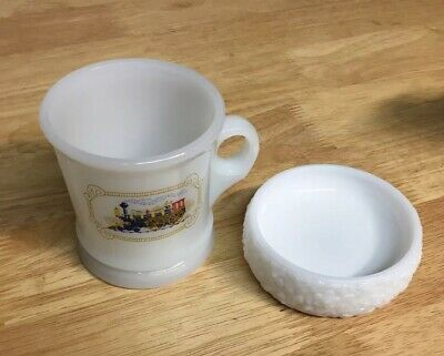 VINTAGE AVON MILK GLASS SHAVING MUG LOCOMOTIVE TRAIN DESIGN Coffee Tea Cup