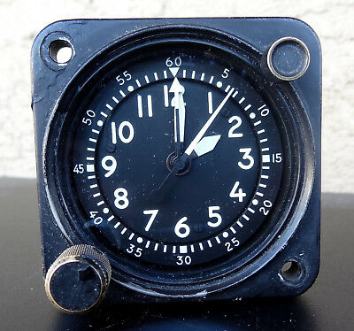 Waltham Precision A-13A-1 Aircraft Chrono Clock MIL-SPEC White Numbers And Hands