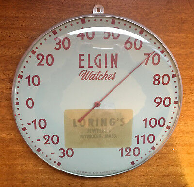 """Vintage ELGIN Watches Advertising 12"""" Round THERMOMETER 1940s 1950s - N/R"""