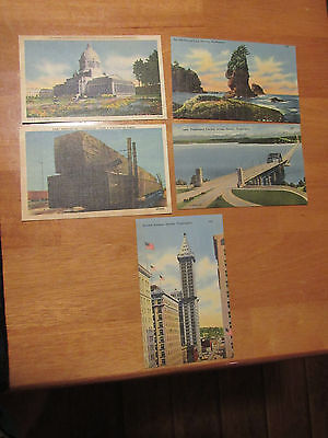 (5)Vintage Postcard: WASHINGTON /toothpicks~Seattle~Old Man~PAINTED LINEN/1950'S