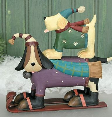 """Williraye Studios """"Two for the Slopes"""" Two dogs Skiing WW2903 New In Box"""